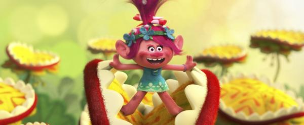 "Troll princess Poppy (voiced by Anna Kendrick) bursts into song in DreamWorks Animation's ""Trolls."" (Deseret Photo)"