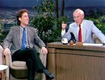 "Jerry Seinfeld, left, visits with Johnny Carson after delivering a hilarious monologue on ""The Tonight Show"" in the mid 1980s. Three episodes with Seinfeld are on the new DVD ""The Tonight Show Starring Johnny Carson: Johnny and Friends Featuring Jerry Seinfeld."" (Deseret Photo)"