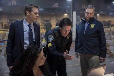 "Kevin Bacon, standing left, Mark Wahlberg and John Goodman in ""Patriots Day."" (Deseret Photo)"