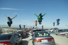 """An amazing chorus line of dancers on a stalled freeway opens """"La La Land,"""" the new musical that is on track for Oscar nominations on Tuesday. (Deseret Photo)"""