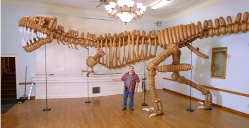 It's a life-sized T-rex made entirely of balloons. Who wants this guy at your kid's next birthday party? (Deseret Photo)