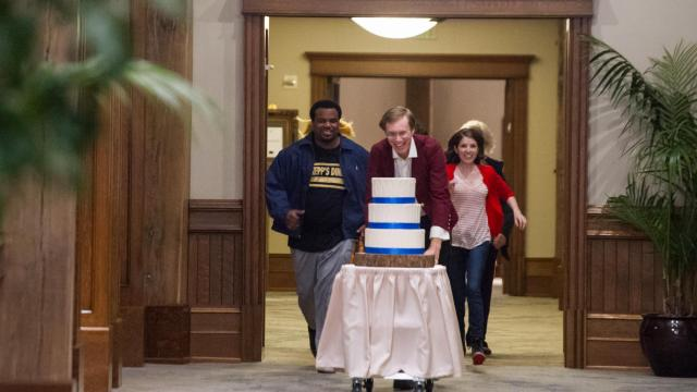"Craig Robinson as Jerry, left, Stephen Merchant as Walter and Anna Kendrick as Eloise in ""Table 19."" (Deseret Photo)"