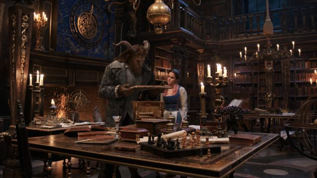 The Beast (Dan Stevens) and Belle (Emma Watson) in the castle library in Disney's BEAUTY AND THE BEAST, a live-action adaptation of the studio's animated classic which is a celebration of one of the most beloved stories ever told. (Deseret Photo)