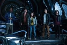"""RJ Cyler as Billy, left, Dacre Montgomery as Jason, Becky G as Trini, Ludi Lin as Zack and Naomi Scott as Kimberly in """"Saban's Power Rangers."""" (Deseret Photo)"""