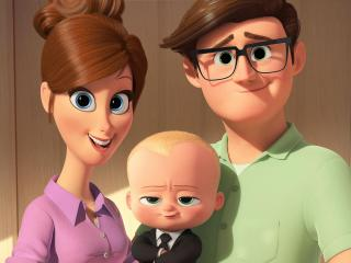 Tim's mother (voiced by Lisa Kudrow) and father (voiced by Jimmy Kimmel) introduce him to Boss Baby (voiced by Alec Baldwin) in DreamWorks Animation's THE BOSS BABY. Photo Credit: DreamWorks Animation. (Deseret Photo)