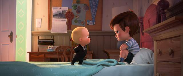 Boss Baby (voiced by Alec Baldwin) tries to convince Tim (voiced by Miles Bakshi) that they must cooperate in DreamWorks Animation's THE BOSS BABY. Photo Credit: DreamWorks Animation. (Deseret Photo)