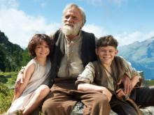"""Bruno Ganz as Grandfather is flanked by Anuk Steffen as Heidi and Quirin Agrippi as Peter in the umpteenth film adaptation of """"Heidi,"""" now on DVD. (Deseret Photo)"""