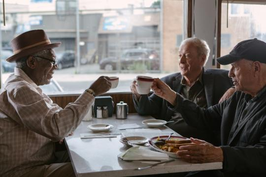 """Morgan Freeman, left, as Willie, Michael Caine as Joe and Alan Arkin as Al in """"Going in Style."""" (Deseret Photo)"""
