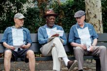 """Alan Arkin, left, as Al, Morgan Freeman as Willie and Michael Caine as Joe in """"Going in Style."""" (Deseret Photo)"""