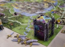A look at the game board from the perspective of one player. The sides of the tower indicate specific actions that can be taken. (Deseret Photo)