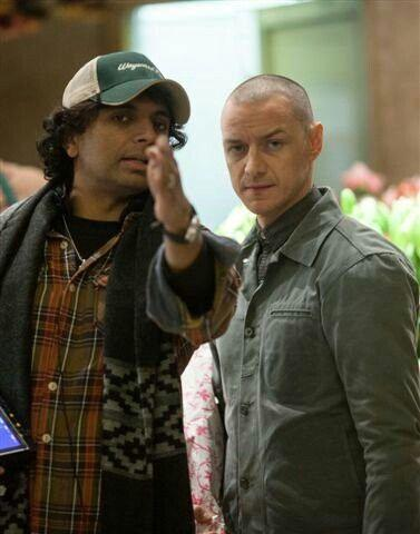 "M. Night Shyamalan, left, gives direction to James McAvoy on the set of the split-personality horror flick ""Split,"" now on Blu-ray, DVD and on-demand streaming sites. (Deseret Photo)"