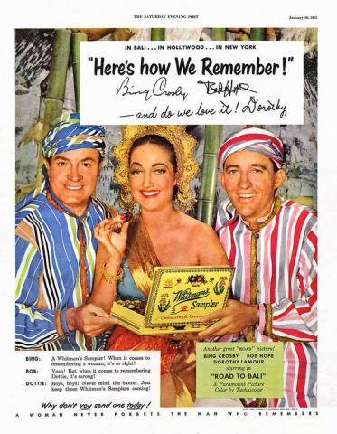 "This ad for Whitman's chocolates includes a plug in the lower right for ""Road to Bali"" (1952), which stars, from left, Bob Hope, Dorothy Lamour and Bing Crosby. (Deseret Photo)"