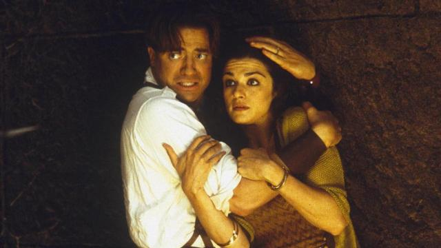 "Brendan Fraser and Rachel Weisz prepare for trouble in ""The Mummy Returns."" (Deseret Photo)"