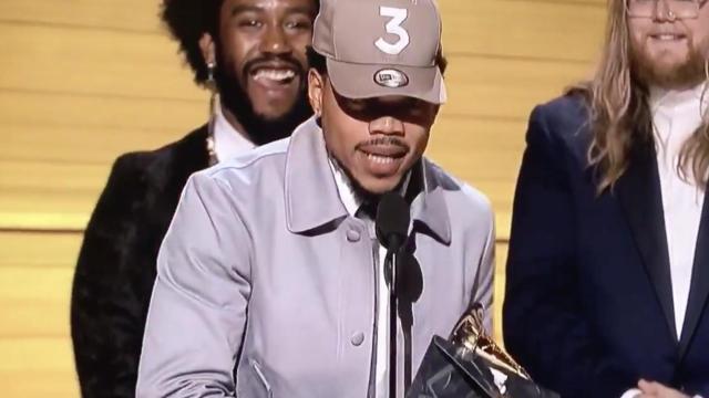"Chance the Rapper at the 2017 Grammy Awards, where his album ""Coloring Book"" won Best Rap Album. (Deseret Photo)"
