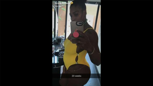 """Tennis player Serena Williams offered up a side profile shot of herself in a yellow swimsuit with a caption that read """"20 weeks"""" on Snapchat in April of 2017."""