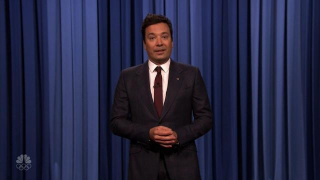 Jimmy Fallon delivered an emotional monologue Monday night about Saturday's deadly events in Charlottesville, Virginia.