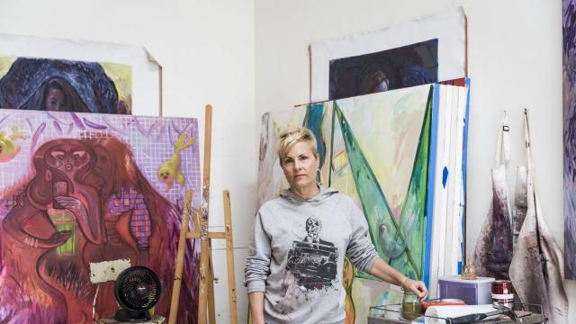 The artist Delia Brown in her studio in Santa Monica, Calif., Dec. 3, 2017. Brown is among the several women who have complained that the celebrated artist Chuck Close asked them to pose naked or made inappropriate sexual comments. (Emily Berl/The New York Times)