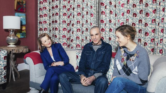 """From left, Lesley Manville, Daniel Day-Lewis and Vicky Krieps talk about their new movie, """"Phantom Thread,"""" at the Crosby Hotel in New York, Dec. 12, 2017. The stars and director of the provocative psychosexual drama detailed the controlled chaos of the shoot which Day-Lewis says will be his last. (Andrew White/The New York Times).."""