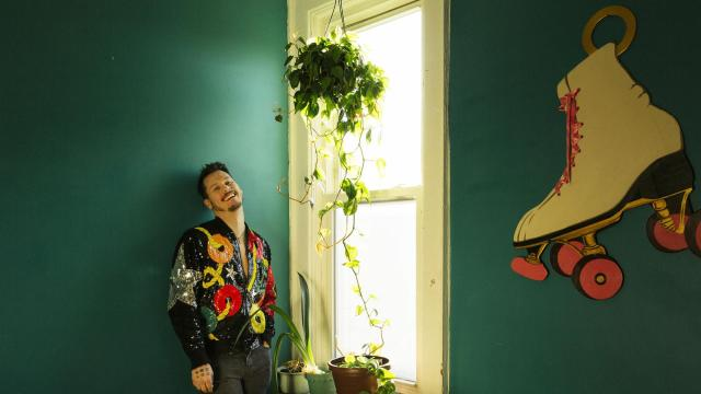 """Dane Terry, the songwriter and performer, at his home in New York, Dec. 27, 2017. Terry has appeared at genre-hopping venues like La MaMa and Joe's Pub, and his new musical show, """"Jupiter's Lifeless Moons,"""" part of the 13th Annual Coil Festival, is helping reopen Performance Space 122. (Ben Sklar/The New York Times)"""
