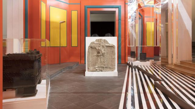 """In an undated handout photo, the atrium at the Madre contemporary art museum in Naples, Italy, incorporating artifacts from Pompeii. The new exhibition """"Pompeii at Madre: Archaeological Material"""" presents artworks that spent nearly 2,000 years buried under ash, some for the first time. (Amedeo Benestante via The New York Times) -- NO SALES; FOR EDITORIAL USE ONLY WITH STORY SLUGGED POMPEII ARTWORK EXHIBIT BY HOROWITZ FOR JAN. 4, 2018. ALL OTHER USE PROHIBITED. --"""