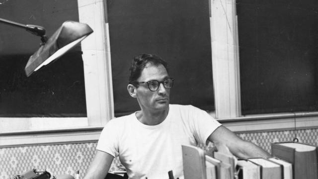 FILE -- Arthur Miller at home in New York, in 1952. Since his death in 2005, two heavyweight academic institutions have been locked in a discreet tug-of-war over Miller's papers. Now, the University of Texas at Austin's Ransom Center has bought the entire archive for $2.7 million. (Sam Falk/The New York Times)