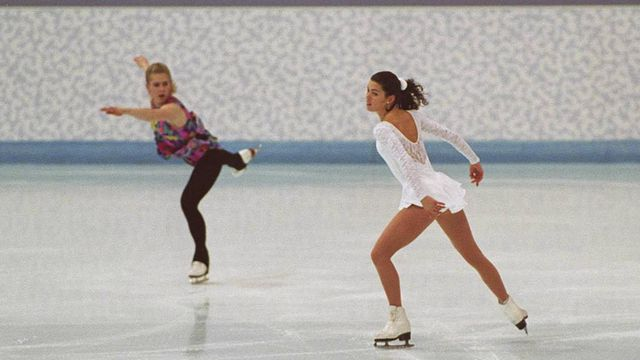 FILE — Tonya Harding, left, and Nancy Kerrigan work on their routines during their second practice session at the 1994 Lillehammer Olympics in Hamar, Norway, Feb. 17, 1994. With her life a film, Tonya Harding looks back at the Nancy Kerrigan scandal and her struggles to tell her side of the story. (Barton Silverman/The New York Times)