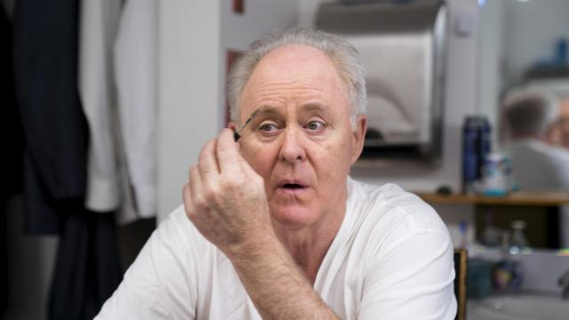 """John Lithgow backstage as he prepares for his one-man show """"John Lithgow: Stories by Heart"""" at the American Airlines Theater in New York, Jan. 3, 2018. Lithgow has taken the show on the road for nine years. (Sara Krulwich/The New York Times)"""