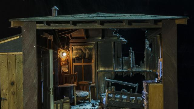 """In an undated handout image, """"Burned Cabin,"""" a miniature crime scene created circa 1944 by Frances Glessner Lee. It and 18 other dioramas made by Lee as learning tools for the infant field of forensic science are on exhibit at the Smithsonian American Art Museum. (Harvard University/Office of the Chief Medical Examiner, Baltimore via The New York Times) -- NO SALES; FOR EDITORIAL USE ONLY WITH STORY SLUGGED CRIME SCENES EXHIBIT BYHAMILTON FOR JAN. 12, 2018. ALL OTHER USE PROHIBITED. --"""