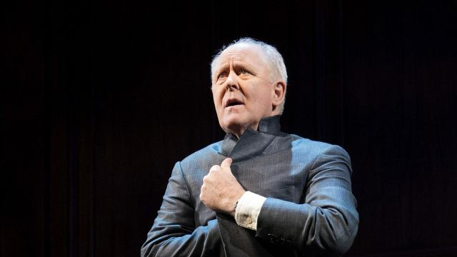 """John Lithgow in his one-man show """"John Lithgow: Stories by Heart"""" at the American Airlines Theater in New York, Dec. 19, 2017. In a tribute to his father and the tradition of reading aloud, Lithgow recites two classic tales of deception and comeuppance. (Sara Krulwich/The New York Times)"""