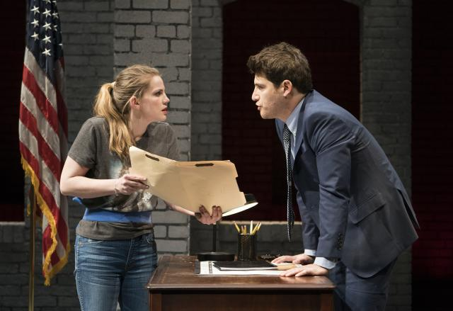 """Anna Chlumsky and Adam Pally in """"Cardinal,"""" at the Second Stage Theater in New York, Jan. 8, 2018. Greg Pierce's new play """"Cardinal,"""" focuses on a Rust Belt town on the skids and a desperate plan to save it. (Sara Krulwich/The New York Times)"""