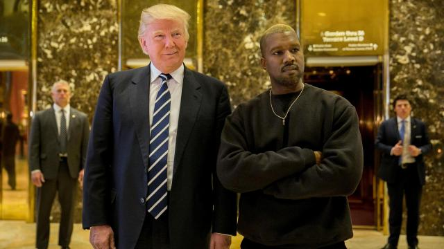 FILE -- President-elect Donald Trump and Kanye West on Dec. 13, 2016 in the lobby of Trump Tower in Manhattan. Now in 2018, Kanye's last two years have included wild stretches of chaos, public trauma, divisive flirtations with partisan politics, and health struggles that played out both in public and in private. (Sam Hodgson/The New York Times)