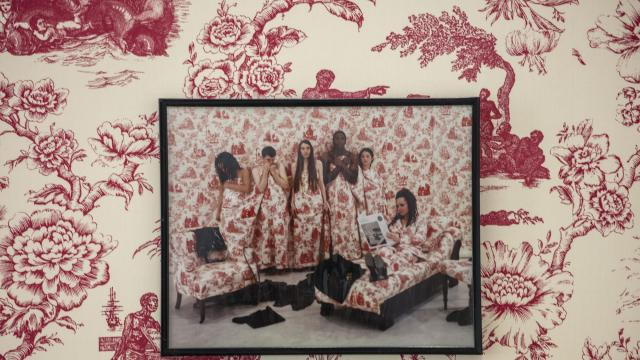 """Elements of Renée Green's installation, which uses printed toile, in the """"Conditions of Being Art"""" show at the Hessel Museum of Art in Annandale-on-Hudson, N.Y., Aug. 23, 2018. Many intriguing art works await north of New York City. (Tony Cenicola/The New York Times)"""