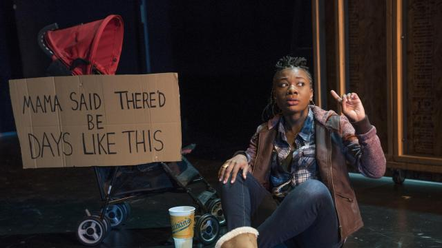 """Deonna Bouye in the play """"The Revolving Cycles Truly and Steadily Roll'd"""" at the Duke Theater in New York, Sept. 6, 2018. The play, a missing-person procedural, addresses the hole left in society when its young black men disappear. (Sara Krulwich/The New York Times)"""