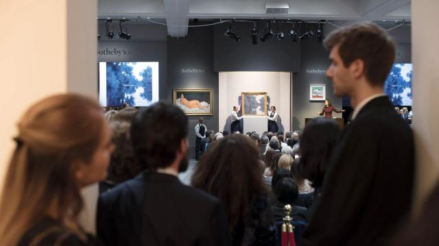 "FILE — Claude Monet's ""Matinée sur la Seine"" is auctioned off at Sotheby's in New York, on May 14, 2018. High-profile artists can still draw crowds of bidders, but online bidding has accounted for a full 25 percent of sales this year at Sotheby's. (John Karsten Moran/The New York Times)."
