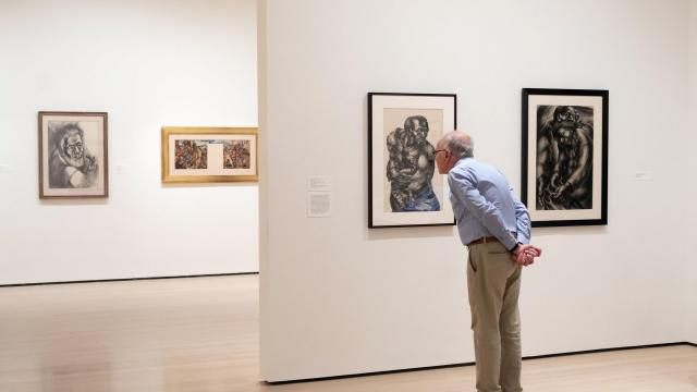 """Artwork by Charles White in the exhibition """"Charles White: A Retrospective"""" at The Museum of Modern Art in New York, Oct. 5, 2018. At the Museum of Modern Art, the first full-scale look at White's career in about three decades traces a broad pattern of 20th-century African-American life. (Agaton Strom/The New York Times)"""
