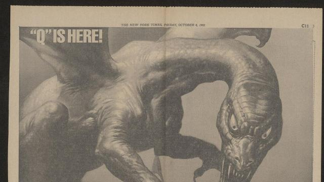 """-- PHOTO MOVED IN ADVANCE AND NOT FOR USE - ONLINE OR IN PRINT - BEFORE OCT. 28, 2018. -- An undated handout photo of an advertisement for Larry Cohen's horror movie """"Q"""" (1982). The newspaper ads for 1980s horror movies could be as fun to scrutinize as the films themselves. A fan who collected the ads shares highlights. (Handout via The New York Times) -- NO SALES; FOR EDITORIAL USE ONLY WITH NYT STORY EIGHTIES HORROR ADS BY MEKADO MURPHY FOR OCT. 28, 2018. ALL OTHER USE PROHIBITED. --"""