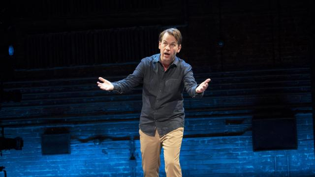 "Mike Birbiglia in his one-man show, ""The New One,"" at the Cort Theater in New York, Oct. 26, 2018. Four times recently he's stopped his solo Broadway show to make his feelings known about audience members on their cellphones — gently but firmly. (Sara Krulwich/The New York Times)"