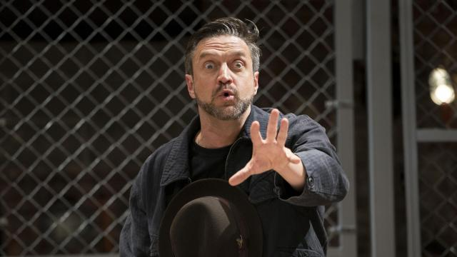 """Raúl Esparza in the play """"The Resistible Rise of Arturo Ui"""" at the Classic Stage Company in New York, Oct. 30, 2018. Esparza is portraying the title thug in John Doyle's limber revival of Bertolt Brecht's 1941 satire about Adolf Hitler. (Sara Krulwich/The New York Times)"""