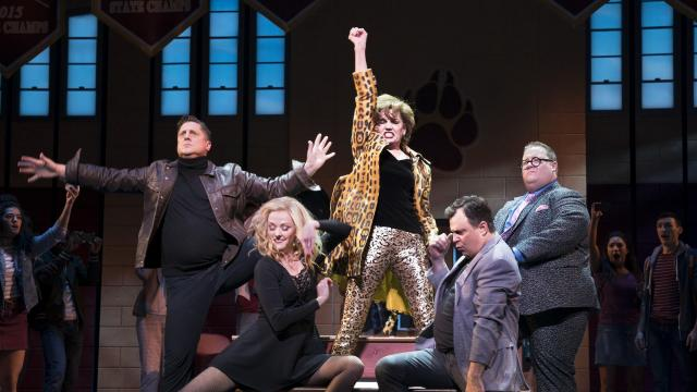 """FILE -- From left: Christopher Sieber, Angie Schworer, Beth Leavel, Brooks Ashmanskas and Josh Lamon in the musical """"The Prom"""" at the Cort Theater in New York, Oct. 21, 2018. The characters are Broadway veterans who take their outsize egos (and maybe some talent) to the Midwest to help a high school girl attend """"The Prom."""" (Sara Krulwich/The New York Times)"""