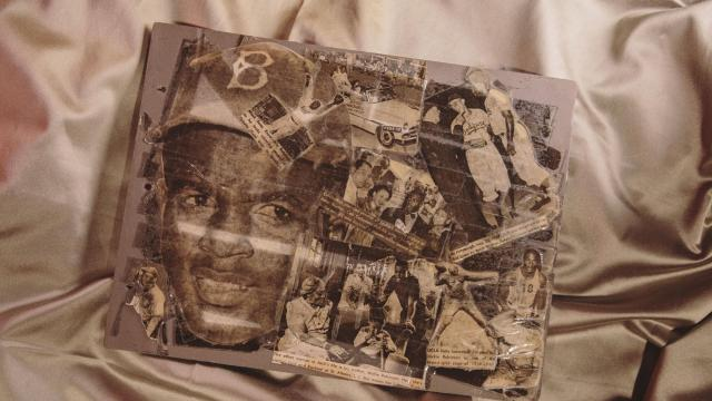 -- PHOTO MOVED IN ADVANCE AND NOT FOR USE - ONLINE OR IN PRINT - BEFORE NOV. 18, 2018. -- Louis Armstrong's collage of Jackie Robinson images, at his home in Queens, Nov. 5, 2018. Thanks to a $3 million grant from the Fund II Foundation — run by Robert F. Smith, the wealthiest African-American — the Louis Armstrong House Museum has digitized the entire collection he left behind and made it available to the public. (Nathan Bajar/The New York Times) -- NO SALES; FOR EDITORIAL USE ONLY WITH NYT STORY ARMSTRONG ARCHIVE BY GIOVANNI RUSSONELLO and NATHAN BAJAR OF NOV. 18, 2018. ALL OTHER USE PROHIBITED. --