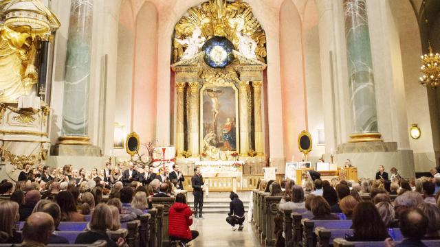 A memorial for Tim Bergling, also known as Avicii, at Hedvig Eleonora Church in Stockholm, Nov. 16, 2018. The church is replacing normal hymns with Avicii's music, as part of a continuing effort to draw younger members to the dwindling ranks of the Lutheran Church of Sweden. (Erika Gerdemark/The New York Times)