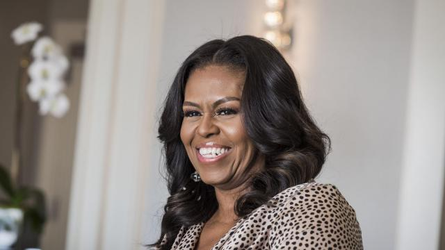 """Michelle Obama during a talk over breakfast with Tracee Ellis Ross at the Beverly Wilshire Hotel in Beverly Hills, Calif., Nov. 16, 2018. The former first lady and a star of ABC's """"black-ish"""" talked about Obama's memoir, feeling """"good enough"""" and what it really means to """"go high."""" (Emily Berl/The New York Times)"""
