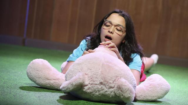 """-- PHOTO MOVED IN ADVANCE AND NOT FOR USE - ONLINE OR IN PRINT - BEFORE NOV. 25, 2018. -- A photo provided by Joan Marcus of Midori Francis in Ming Peiffer's new play """"Usual Girls,"""" at Roundabout Theater Company. Several recent plays, including Clare Barron's acclaimed """"Dance Nation"""" and """"Usual Girls,"""" have ditched the usual cloying tropes of grown-ups playing kids on stage. (Joan Marcus via The New York Times) -- NO SALES; FOR EDITORIAL USE ONLY WITH NYT STORY THEATER ADULTS CHILDREN BY ERIC GRODE FOR NOV. 22, 2018. ALL OTHER USE PROHIBITED. --"""