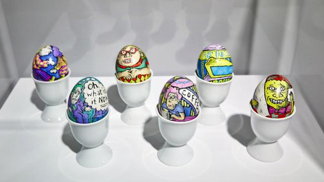Hand-decorated, Ukrainian-style eggs made by Roz Chast, who is also known for her New Yorker cartoons, at the SVA Chelsea Gallery in New York, Nov. 20, 2018. Chast has drawn all her life, but she has also tried several other crafts, including embroidery. (Peter Garritano/The New York Times)