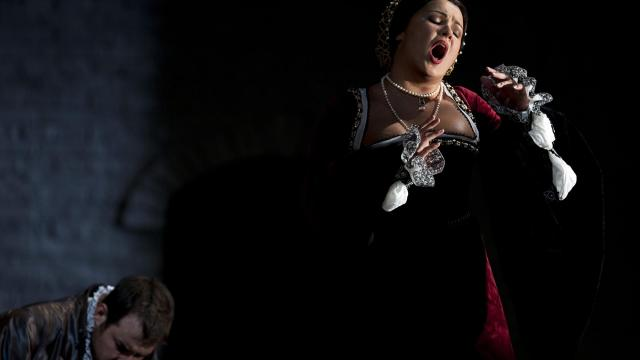 """FILE -- Stephen Costello, left, and Russian soprano Anna Netrebko rehearse Donizetti's """"Anna Bolena,"""" for the Metropolitan Opera in New York, Sept. 15, 2011. The Russian opera diva, who makes her Carnegie Hall solo recital debut on Sunday, December 9, 2018, goes above and beyond, both onstage and on Instagram. (Damon Winter/The New York Times)"""