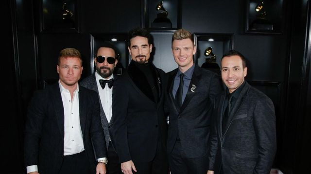The Backstreet Boys are seen on the red carpet of the 61st annual Grammy Awards in Los Angeles on Sunday, Feb. 10, 2019. (Francis Specker/CBS)