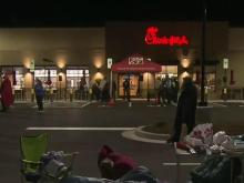 Tents fill Chick-fil-A parking lot before grand opening in Wilson