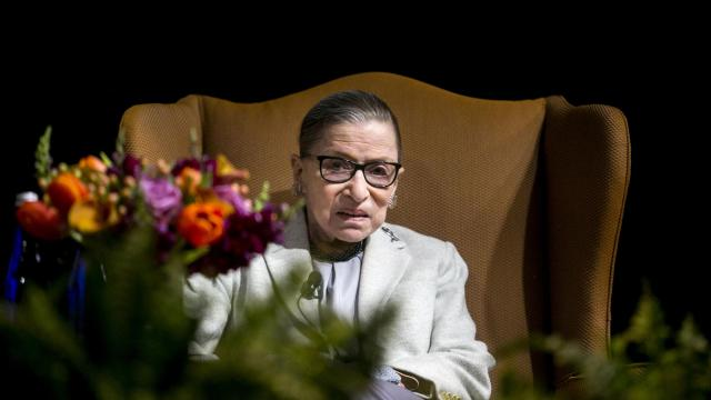 """FILE -- Supreme Court Justice Ruth Bader Ginsburg during a speaking engagement at New York University School of Law in New York on Feb. 5, 2018. Ginsburg is the recipient of the 2019 Berggruen Prize, which is given annually to a thinker whose ideas """"have profoundly shaped human self-understanding and advancement in a rapidly changing world."""" She will direct the $1 million of prize money to a charitable or nonprofit organization. (Sam Hodgson/The New York Times)"""