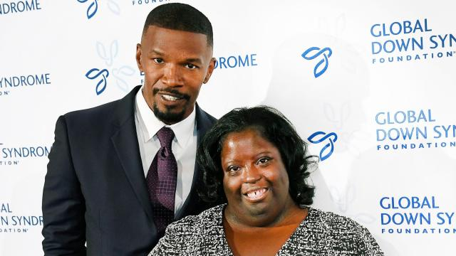 Movie star Jamie Foxx poses on the red carpet with his sister DeOndra Dixon while attending the Global Down Syndrome Foundation's 2016 'Be Beautiful, Be Yourself' fashion show at the Hyatt Regency Hotel on November 12, 2016 in Denver, Colorado. A night of advocacy, and empowerment, the event is the single largest fundraiser benefitting people with Down syndrome in the world, having raised over $12 million to date.  (Photo by Helen H. Richardson/The Denver Post via Getty Images)