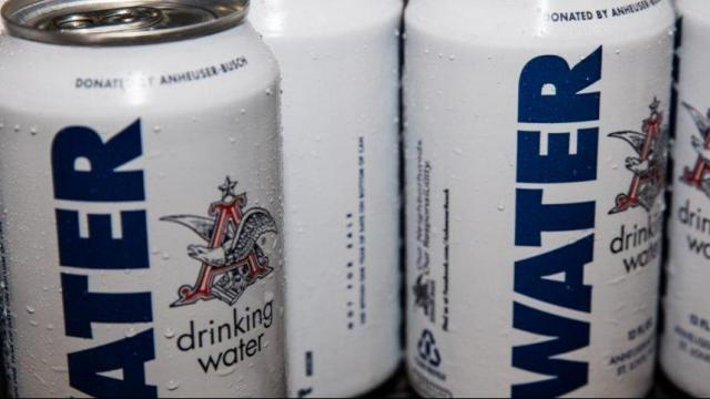 Anheuser-Busch sends canned water to Texas for relief effort. Photo via Anheuser-Busch